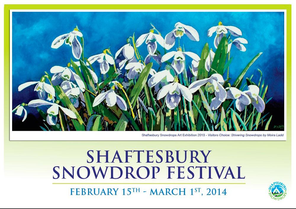 2014 Festival Poster Moira Ladd - Shaftesbury Snowdrops