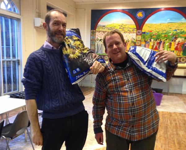 Potting -up Volunteers Tim & Luke - Shaftesbury Snowdrops