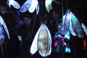 Children with snowdrop lanterns - Shaftesbury Snowdrops