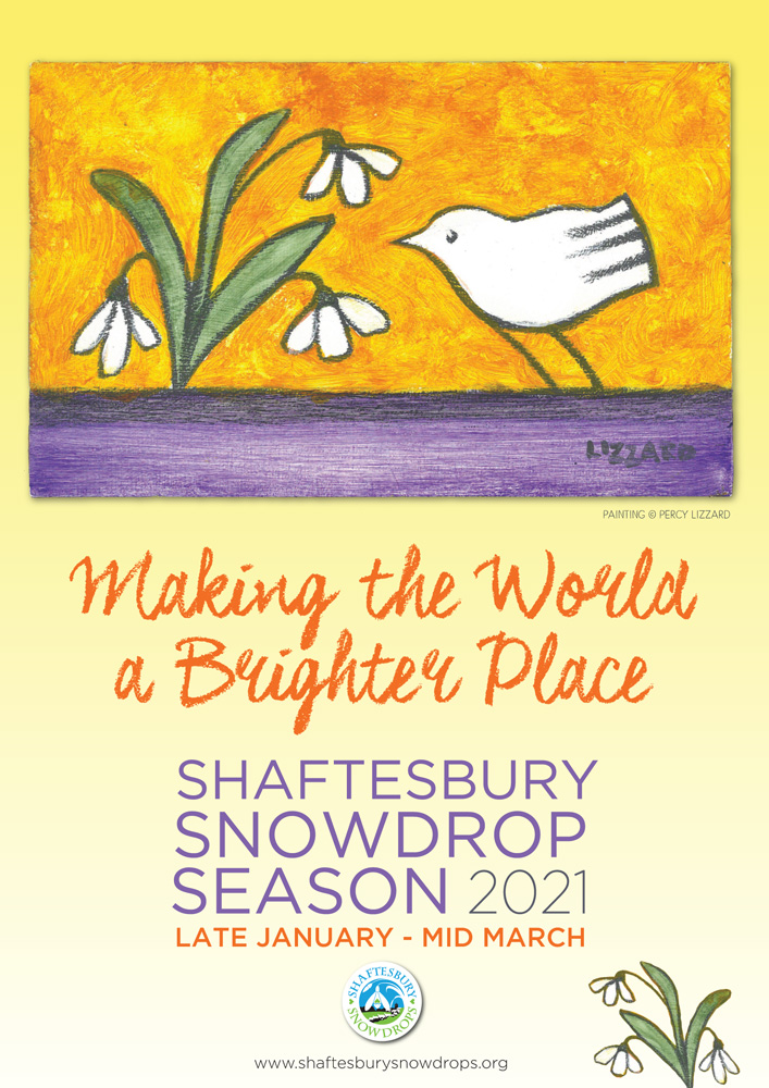Shaftesbury Snowdrops 2021: artwork copyright Percy Lizzard; poster design Liz Martin
