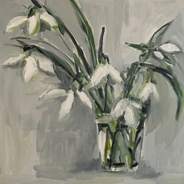 Shaftesbury Snowdrops Exibition 2021 - Snowdrops in glass by Wendy Hinchcliffe Barber