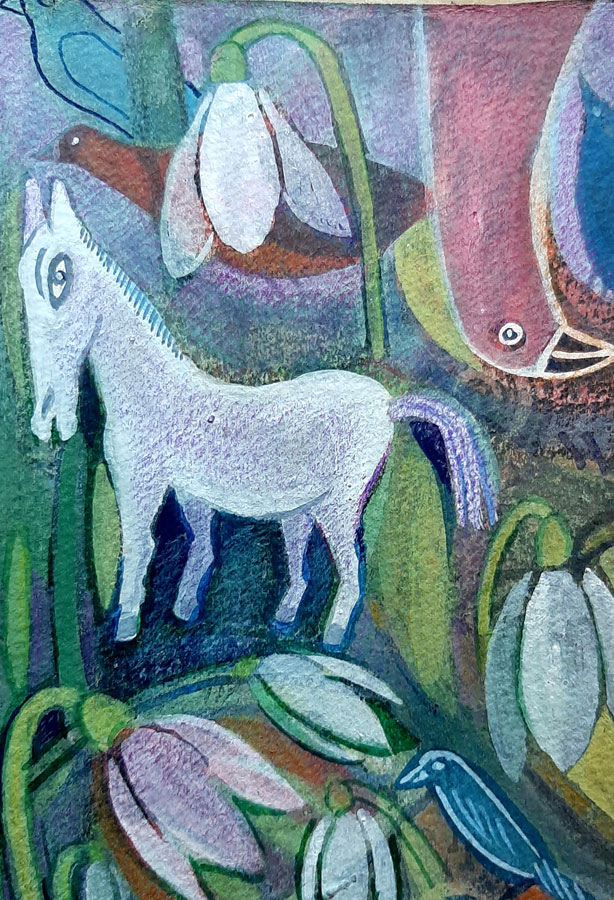 Shaftesbury Snowdrops Exibition 2021 - Suzanne Woodward - White Horse And Snowdrops